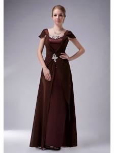 Beautiful Brown Column Square Mother Of The Bride Dress Chiffon Beaidng Floor-length
