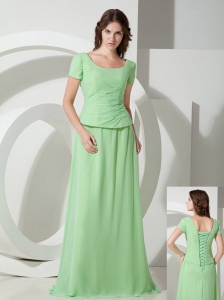 Beautiful Spring Green Empire Scoop Mother Of The Bride Dress Brush Train Chiffon Beading