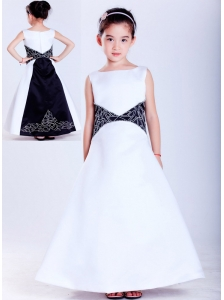 Beautiful White and Black A-line Scoop Embroidery Flower Girl Dress Ankle-length Satin