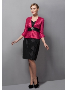 Black and Fuchsia Mother Of The Bride Dress with Jacket Taffeta