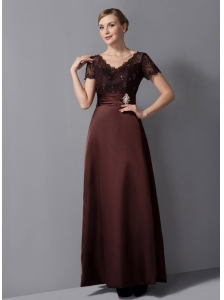 Custom Made Brown Column Mother Of The Bride Dress V-neck Beading Ankle-length Satin