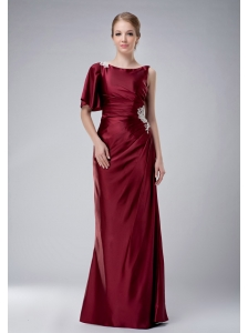 Custom Made Burgundy Column Bateau Mother Of The Bride Dress Taffeta Appliques Floor-length