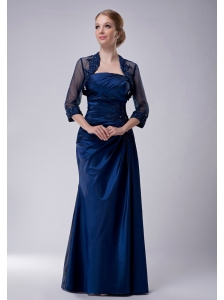 Custom Made Navy Blue Column Strapless Mother Of The Bride Dress Taffeta Appliques Floor-length