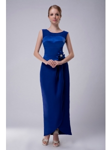 Custom Made Royal Blue Column Bateau Mother Of The Bride Dress Ankle-length Taffeta Hand Made Flower