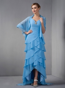 Custom Made Sky Blue Column Mother Of The Bride Dress Straps Beading and Ruch Brush Train Chiffon
