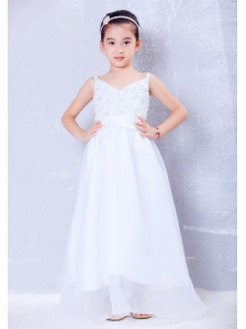 Custom Made White A-line V-neck Beading Flower Girl Dress Floor-length Taffeta and Organza