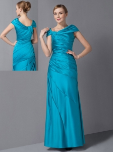 Customize 70's Teal Mother Of The Bride Dress Asymmetrical Ruch Ankle-length