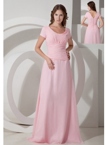 Customize Baby Pink Empire Scoop Neck Mother Of The Bride Dress Chiffon Beading Floor-length