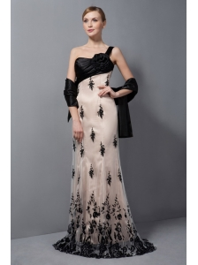 Customize Champagne and Black Column One Shoulder Brush Train Tulle Lace and Hand Made Flower Prom Dress