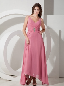 Customize Empire V-neck  Beading Prom Dress Ankle-length Chiffon