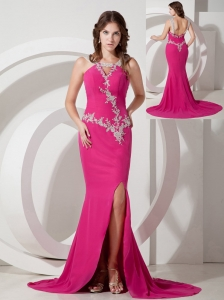 Customize Hot Pink Mermaid / Trumpet Square Appliques Prom Dress Brush / Sweep Chiffon