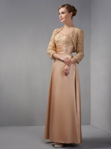 Customize Made Champagne Column Mother Of The Bride Dress Straps Appliques Ankle-length Satin