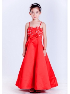 Customize Red A-line Straps Beading Flower Girl Dress Ankle-length Taffeta