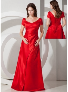 Customize Red Column / Sheath Scoop Prom Dress Taffeta Floor-length