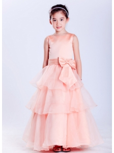 Customize Watermelon Red A-line Scoop Bow Flower Girl Dress Ankle-length Taffeta and Organza