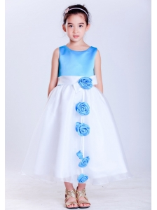 Customize White and Baby Blue A-line Scoop Hand Made Flowers Flower Girl Dress Tea-length Taffeta and Organza