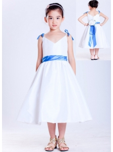 Customize White and Blue A-line V-neck Bows Flower Girl Dress Tea-length Taffeta