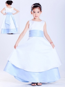 Customize White and Light Blue A-line Scoop Sash Flower Girl Dress Ankle-length Taffeta