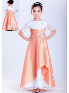 Elegant White and Orange A-line Scoop Appliques Flower Girl Dress Ankle-length Taffeta and Organza