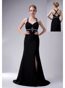 Exquisite Black A-line Straps Mother Of The Bride Dress Brush Train Chiffon Beading