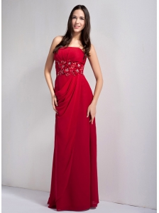 Exquisite Wine Red Empire Strapless Appliques With Beading Prom Dress Floor-legnth Chiffon