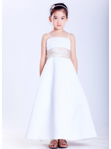 Lovely White A-line Straps Beading Flower Girl Dress  Ankle-length Satin