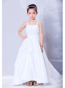 Low Price White A-line Straps Appliques Flower Girl Dress Court Train Taffeta