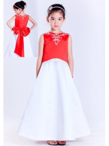 Low Price White and Red A-line V-neck Ankle-length Satin Bow Embroidery Flower Girl Dress