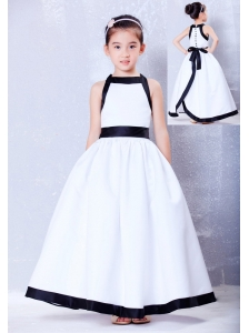 Luxurious White and Black A-line Square Bow Flower Girl Dress Ankle-length Taffeta