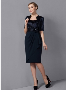 Modest Black Column Mother Of The Bride Dress Strapless Sash Knee-length Chiffon