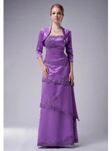 Modest Eggplant Purple Empire Strapless Mother Of The Bride Dress Satin Appliques Floor-length