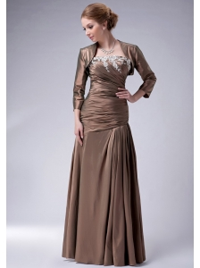 Perfect Brown Empire Strapless Mother Of The Bride Dress Taffeta Appliques Floor-length