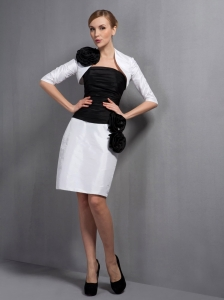 Perfect White and Black Column Mother Of The Bride Dress Strapless Hand Made Flowers Knee-length Taffeta