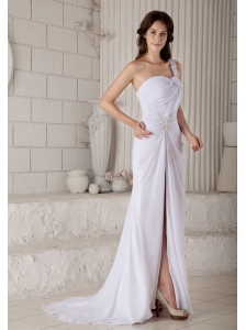 Popular Formal Column / Sheath One Shoulder  Beading Prom Dress Brush Train Chiffon
