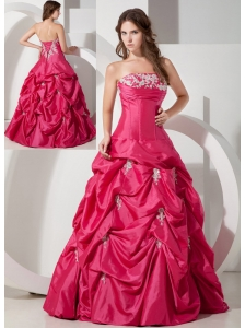 Popular Hot Pink A-line Strapless Appliques Prom Dress Floor-length Taffeta