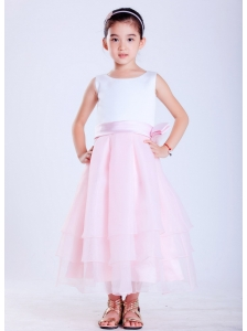 Popular White and Pink A-line Scoop Hand Made Flower Flower Girl Dress Ankle-length Taffeta