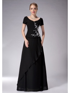 Popular Black Empire Scoop Mother Of The Bride Dress Chiffon Appliques Floor-length