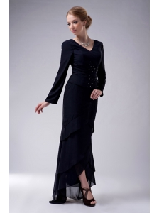 Popular Navy Blue Column V-neck Mother Of The Bride Dress High-low Chiffon Beading