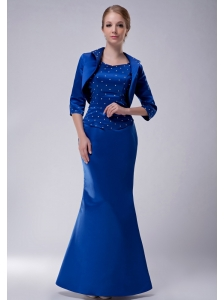 Pretty Royal Blue Column Scoop Mother Of The Bride Dress Taffeta Beading Floor-length