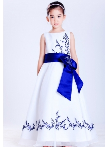 Pretty White and Blue A-line Scoop Embroidery Flower Girl Dress Ankle-length Satin and Organza