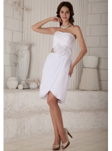 Pretty White Column Mother Of The Brides Dress Strapless Hand Made Flowers Knee-length Chiffon