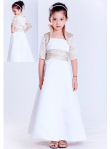 Simple White A-line Strapless Beading Flower Girl Dress  Ankle-length Satin