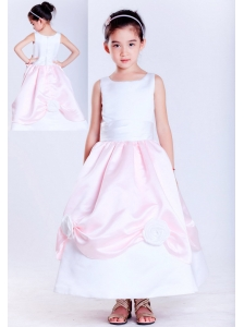 Sweet White and Pink A-line Scoop Hand Made Flowers Flower Girl Dress Ankle-length Taffeta