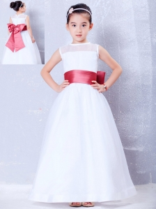 To Seller White and Coral Red A-line Bateau Bow Flower Girl Dress Ankle-length Organza and Taffeta
