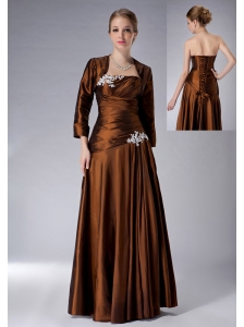 Beautiful Brown Empire Strapless Mother Of The Bride Dress Taffeta Appliques Floor-length
