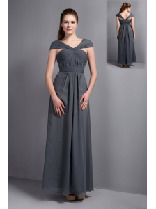 Cheap Grey Chiffon V-neck Cap Sleeves Bridesmaid Dress