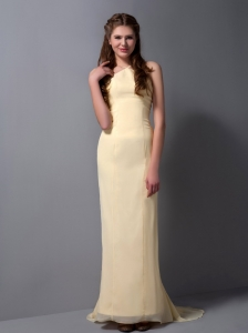 Cheap Light Yellow Halter Top Bridesmaid Dress with Brush Train