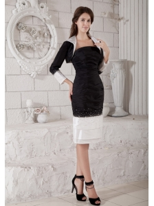 Custom Made White and Black Mother of the Bride Dress Column Strapless Beading Knee-length Taffeta