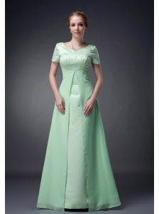 Customize Apple Green A-line V-neck Mother Of The Bride Dress Chiffon Beading Floor-length