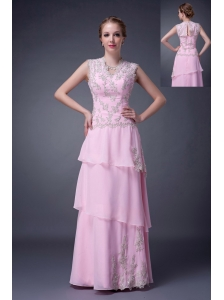 Customize Baby Pink Empire V-neck Mother Of The Bride Dress Chiffon Floor-length Appliques